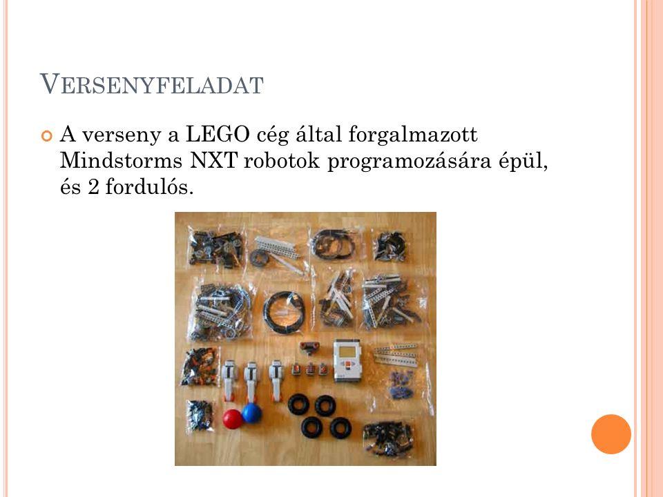 V ERSENYFELADAT A verseny a LEGO cég által forgalmazott Mindstorms NXT robotok programozására épül, és 2 fordulós.