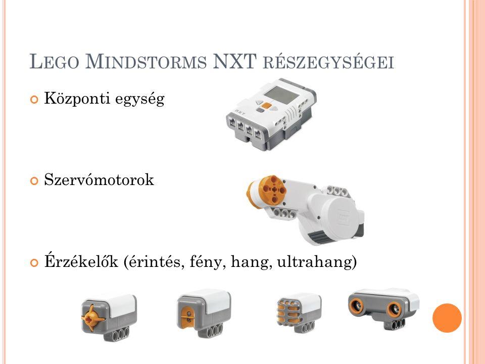 L EGO M INDSTORMS NXT RÉSZEGYSÉGEI Központi egység Szervómotorok Érzékelők (érintés, fény, hang, ultrahang)