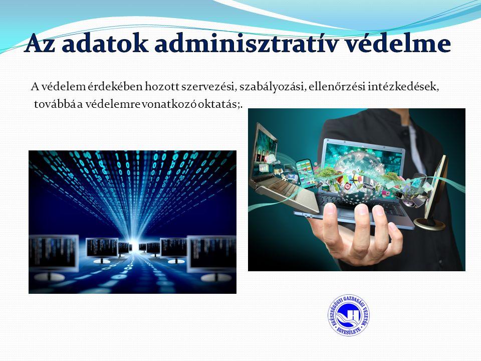 A védelem érdekében hozott szervezési, szabályozási, ellenőrzési intézkedések, továbbá a védelemre vonatkozó oktatás;.