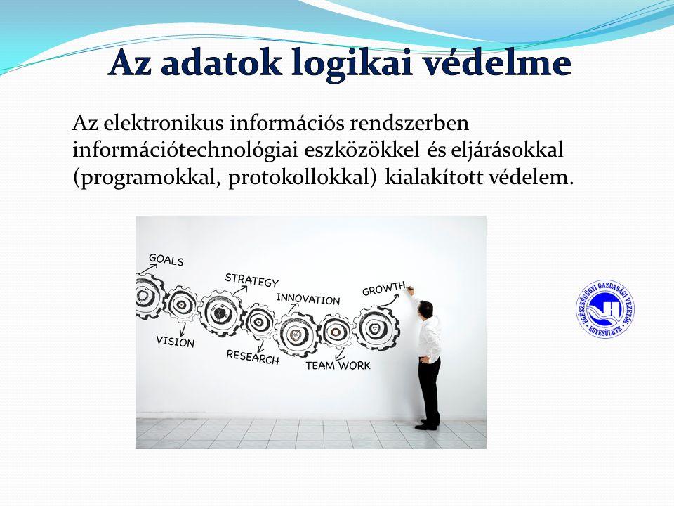 Az elektronikus információs rendszerben információtechnológiai eszközökkel és eljárásokkal (programokkal, protokollokkal) kialakított védelem.