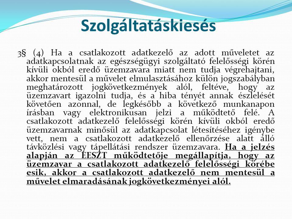 Szolgáltatáskiesés 3§ (4) Ha a csatlakozott adatkezelő az adott műveletet az adatkapcsolatnak az egészségügyi szolgáltató felelősségi körén kívüli okb