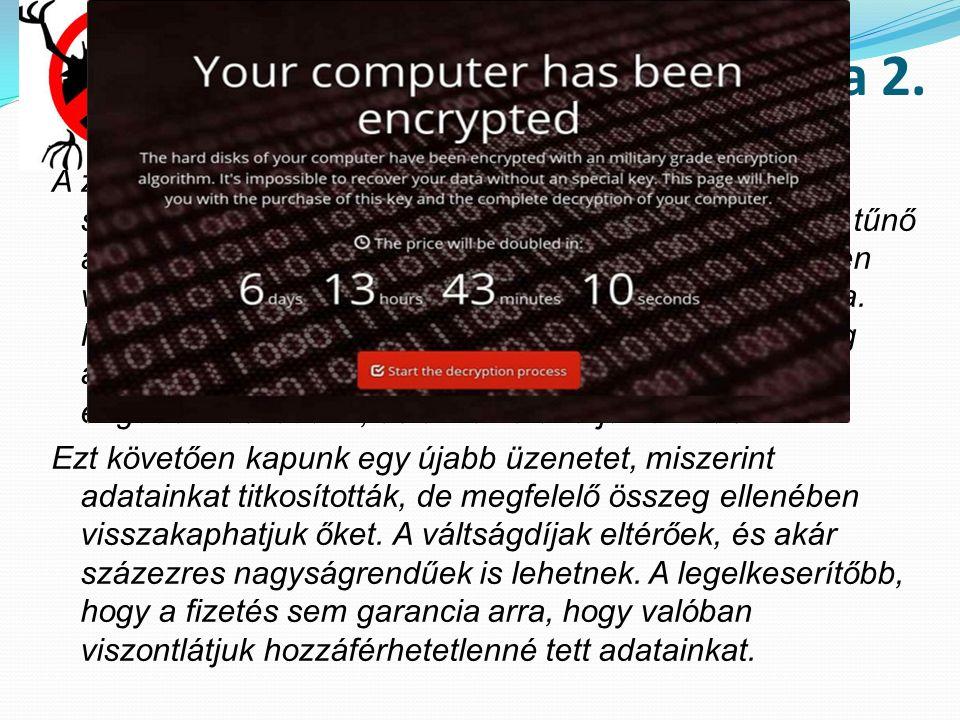 Terjed az adat-túszdráma 2. A zsaroló vírus működésének első lépéseként felugrik a számítógép képernyőjén egy látszólag ártalmatlannak tűnő ablak, és