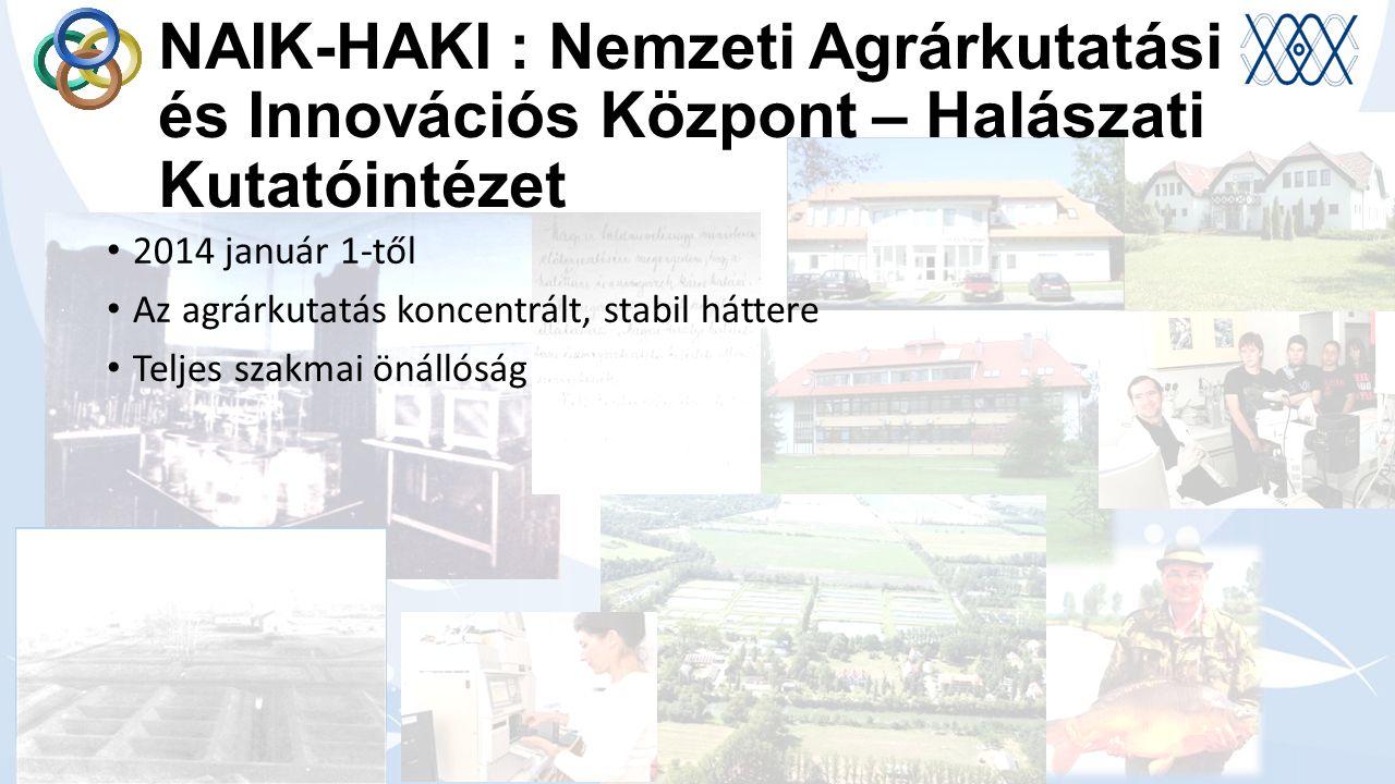NAIK-HAKI : Nemzeti Agrárkutatási és Innovációs Központ – Halászati Kutatóintézet 2014 január 1-től Az agrárkutatás koncentrált, stabil háttere Teljes szakmai önállóság