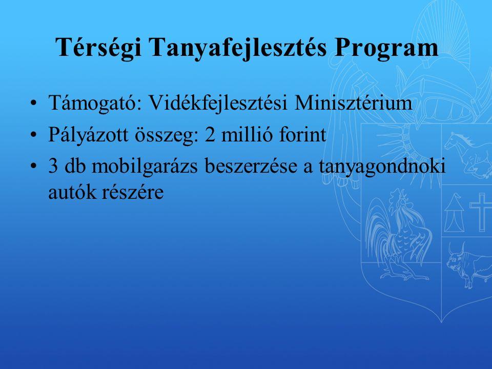 Térségi Tanyafejlesztés Program Támogató: Vidékfejlesztési Minisztérium Pályázott összeg: 2 millió forint 3 db mobilgarázs beszerzése a tanyagondnoki autók részére