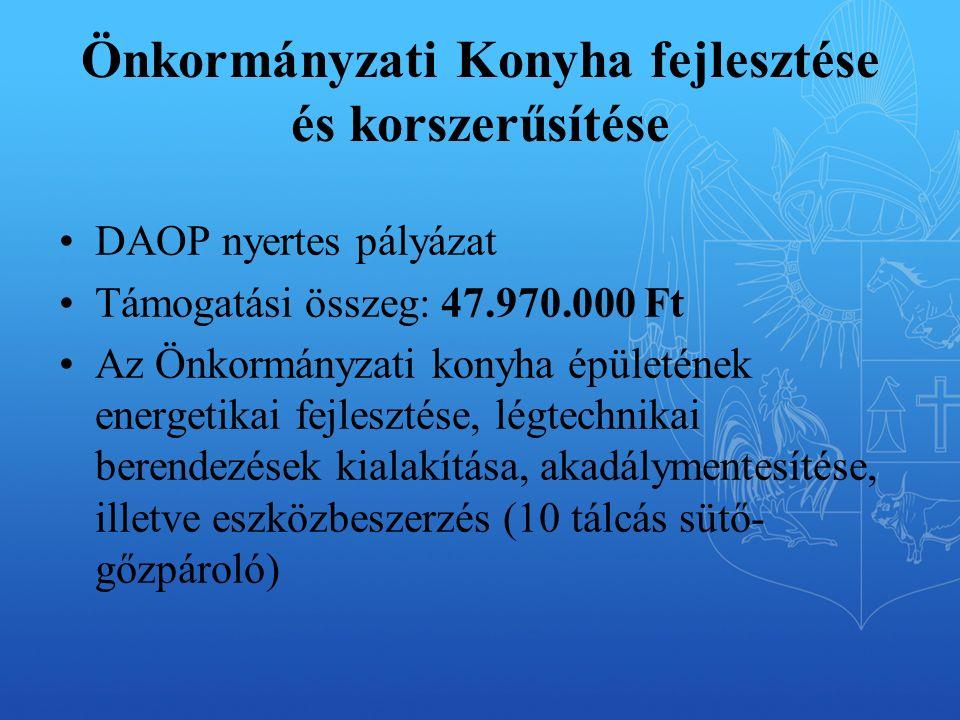 Önkormányzati Konyha fejlesztése és korszerűsítése DAOP nyertes pályázat Támogatási összeg: 47.970.000 Ft Az Önkormányzati konyha épületének energetikai fejlesztése, légtechnikai berendezések kialakítása, akadálymentesítése, illetve eszközbeszerzés (10 tálcás sütő- gőzpároló)