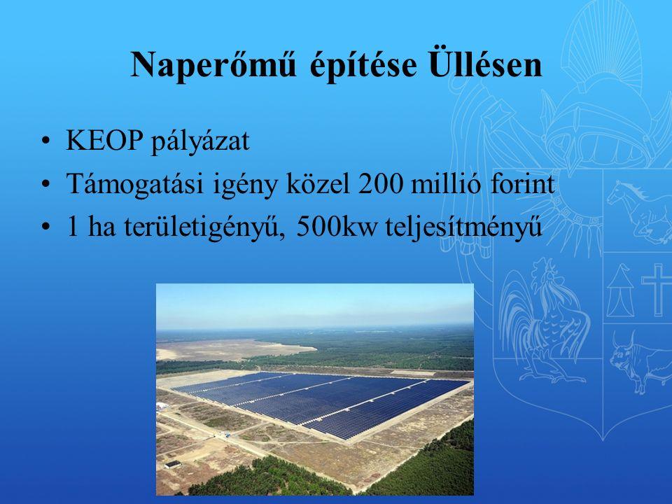 Naperőmű építése Üllésen KEOP pályázat Támogatási igény közel 200 millió forint 1 ha területigényű, 500kw teljesítményű
