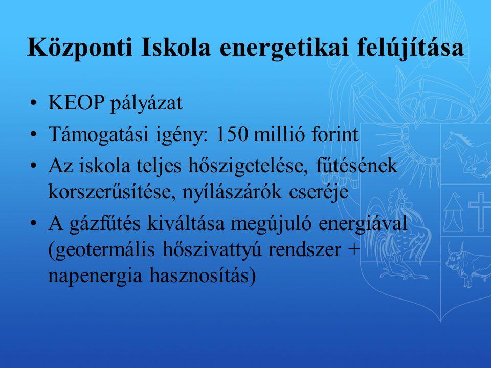 Központi Iskola energetikai felújítása KEOP pályázat Támogatási igény: 150 millió forint Az iskola teljes hőszigetelése, fűtésének korszerűsítése, nyílászárók cseréje A gázfűtés kiváltása megújuló energiával (geotermális hőszivattyú rendszer + napenergia hasznosítás)