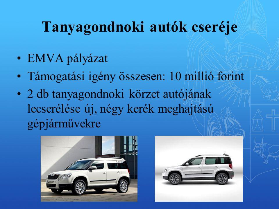Tanyagondnoki autók cseréje EMVA pályázat Támogatási igény összesen: 10 millió forint 2 db tanyagondnoki körzet autójának lecserélése új, négy kerék meghajtású gépjárművekre