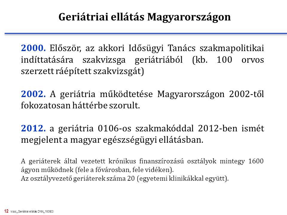 12 kissi_Geriátriai ellátás DNN_160603 2000. Először, az akkori Idősügyi Tanács szakmapolitikai indíttatására szakvizsga geriátriából (kb. 100 orvos s