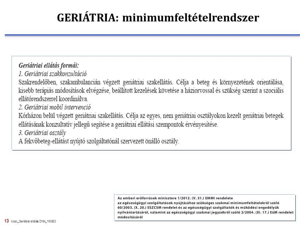 13 kissi_Geriátriai ellátás DNN_160603 GERIÁTRIA: minimumfeltételrendszer