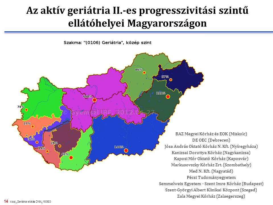14 kissi_Geriátriai ellátás DNN_160603 Az aktív geriátria II.-es progresszivitási szintű ellátóhelyei Magyarországon BAZ Megyei Kórház és EOK (Miskolc) DE OEC (Debrecen) Jósa András Oktató Kórház N.