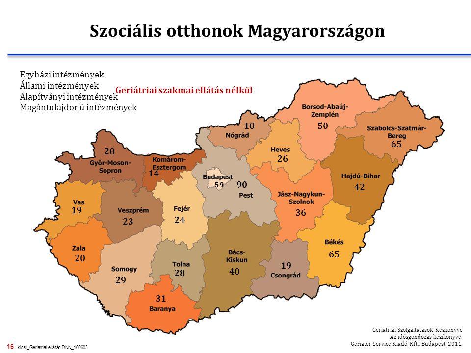 16 kissi_Geriátriai ellátás DNN_160603 Szociális otthonok Magyarországon 59 40 31 65 Geriátriai Szolgáltatások Kézkönyve Az idősgondozás kézikönyve, G