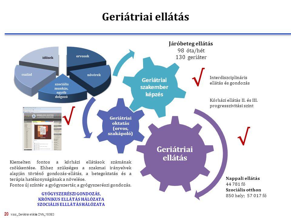 20 kissi_Geriátriai ellátás DNN_160603 Geriátriai ellátás Geriátriai oktatás (orvos, szakápoló) Geriátriai szakember képzés Kiemelten fontos a kórházi ellátások számának csökkentése.