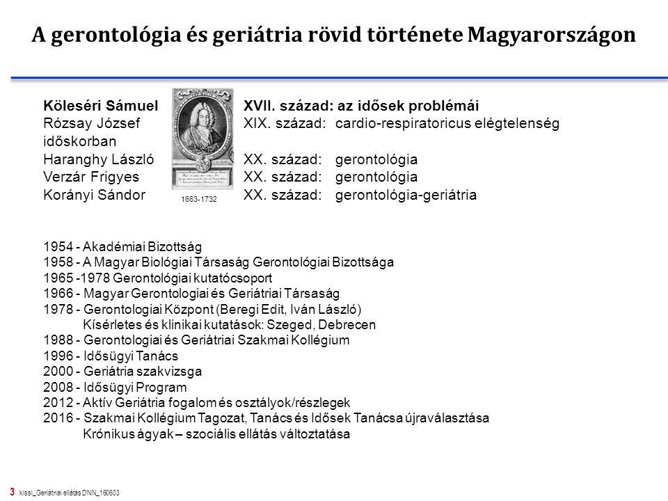 3 kissi_Geriátriai ellátás DNN_160603 A gerontológia és geriátria rövid története Magyarországon Köleséri SámuelXVII. század: az idősek problémái Rózs