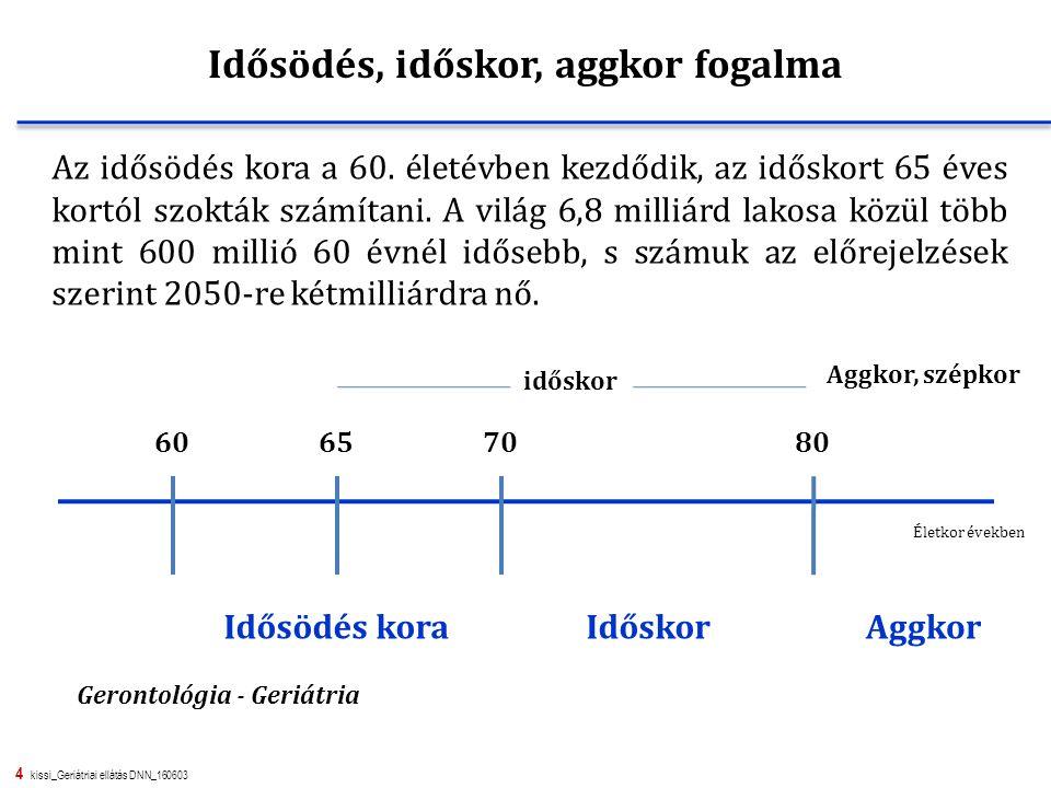 4 kissi_Geriátriai ellátás DNN_160603 Az idősödés kora a 60. életévben kezdődik, az időskort 65 éves kortól szokták számítani. A világ 6,8 milliárd la