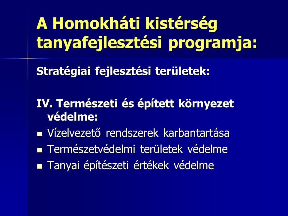 A Homokháti kistérség tanyafejlesztési programja: Stratégiai fejlesztési területek: IV.