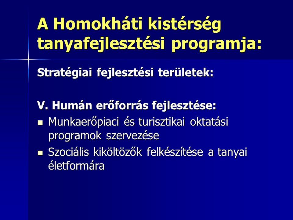 A Homokháti kistérség tanyafejlesztési programja: Stratégiai fejlesztési területek: V.
