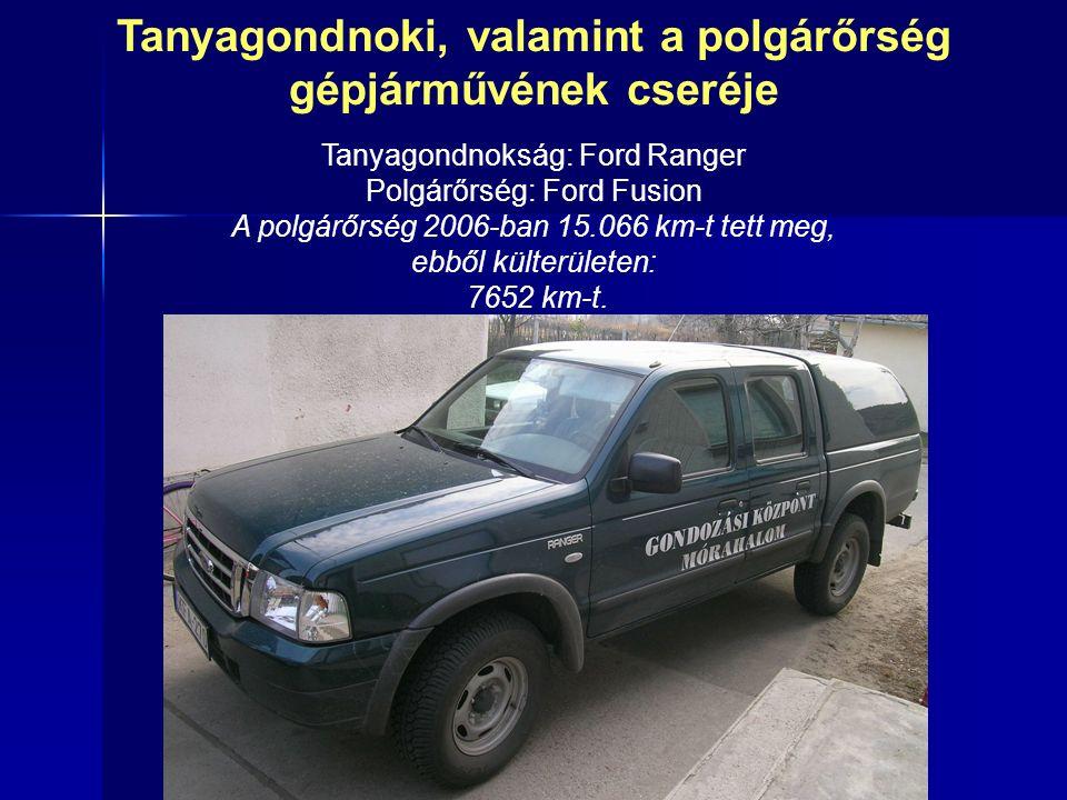 Tanyagondnoki, valamint a polgárőrség gépjárművének cseréje Tanyagondnokság: Ford Ranger Polgárőrség: Ford Fusion A polgárőrség 2006-ban 15.066 km-t tett meg, ebből külterületen: 7652 km-t.