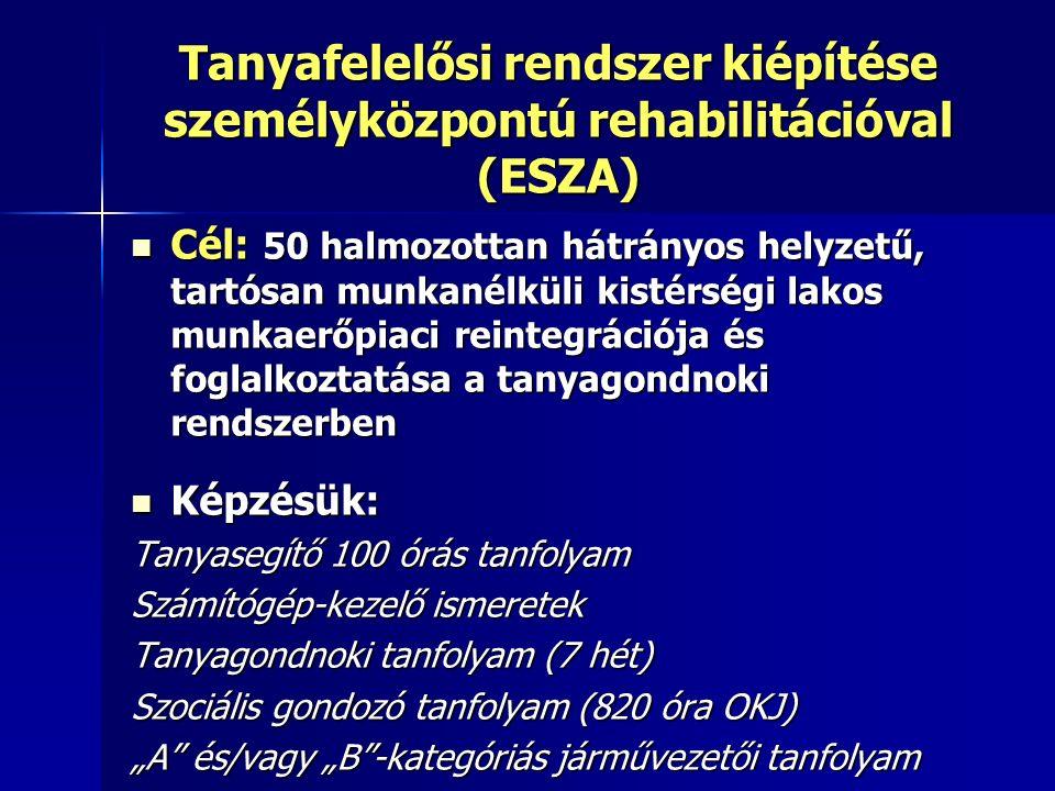 """Tanyafelelősi rendszer kiépítése személyközpontú rehabilitációval (ESZA) Cél: 50 halmozottan hátrányos helyzetű, tartósan munkanélküli kistérségi lakos munkaerőpiaci reintegrációja és foglalkoztatása a tanyagondnoki rendszerben Cél: 50 halmozottan hátrányos helyzetű, tartósan munkanélküli kistérségi lakos munkaerőpiaci reintegrációja és foglalkoztatása a tanyagondnoki rendszerben Képzésük: Képzésük: Tanyasegítő 100 órás tanfolyam Számítógép-kezelő ismeretek Tanyagondnoki tanfolyam (7 hét) Szociális gondozó tanfolyam (820 óra OKJ) """"A és/vagy """"B -kategóriás járművezetői tanfolyam"""