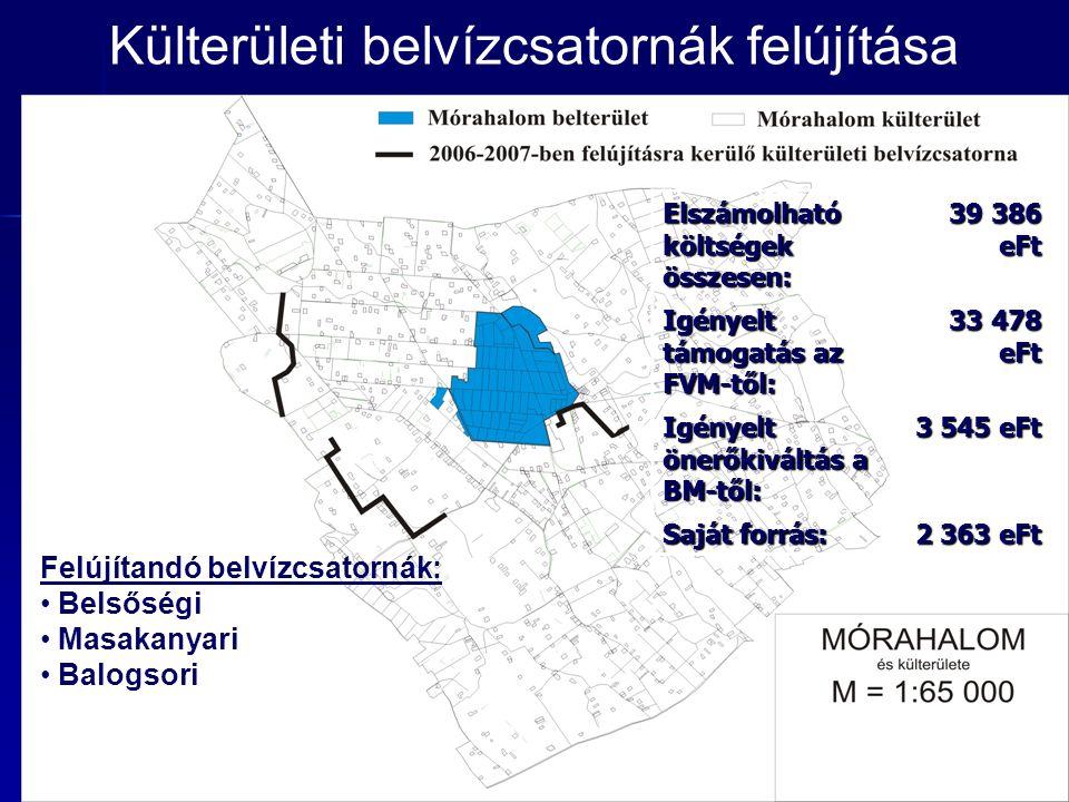 Külterületi belvízcsatornák felújítása Elszámolható költségek összesen: 39 386 eFt Igényelt támogatás az FVM-től: 33 478 eFt Igényelt önerőkiváltás a BM-től: 3 545 eFt Saját forrás: 2 363 eFt Felújítandó belvízcsatornák: Belsőségi Masakanyari Balogsori