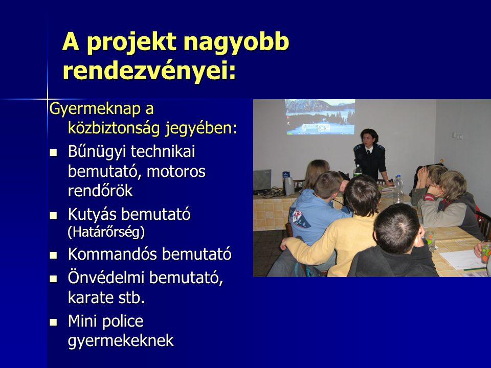 A projekt nagyobb rendezvényei: Gyermeknap a közbiztonság jegyében: Bűnügyi technikai bemutató, motoros rendőrök Bűnügyi technikai bemutató, motoros rendőrök Kutyás bemutató (Határőrség) Kutyás bemutató (Határőrség) Kommandós bemutató Kommandós bemutató Önvédelmi bemutató, karate stb.