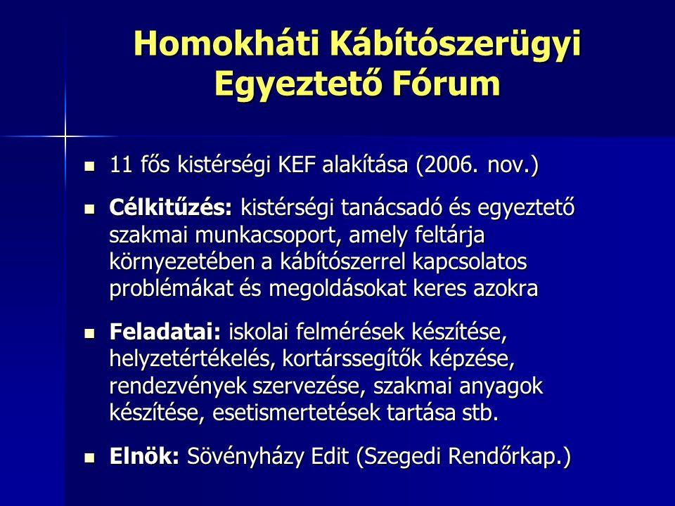 Homokháti Kábítószerügyi Egyeztető Fórum 11 fős kistérségi KEF alakítása (2006.