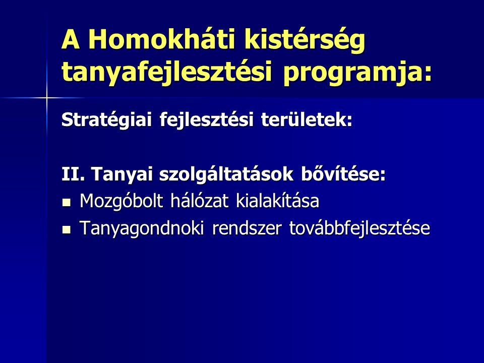 A Homokháti kistérség tanyafejlesztési programja: Stratégiai fejlesztési területek: II.