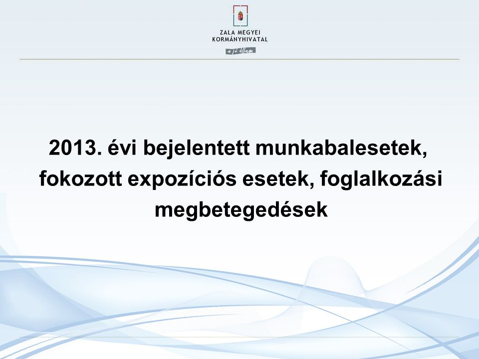 2013. évi bejelentett munkabalesetek, fokozott expozíciós esetek, foglalkozási megbetegedések