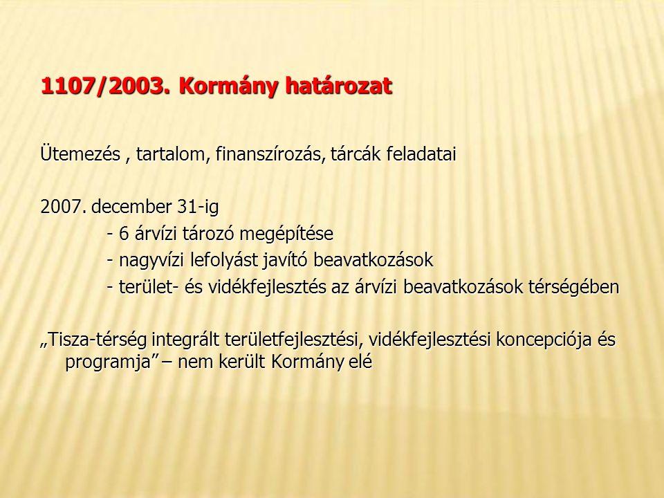 1107/2003. Kormány határozat Ütemezés, tartalom, finanszírozás, tárcák feladatai 2007.
