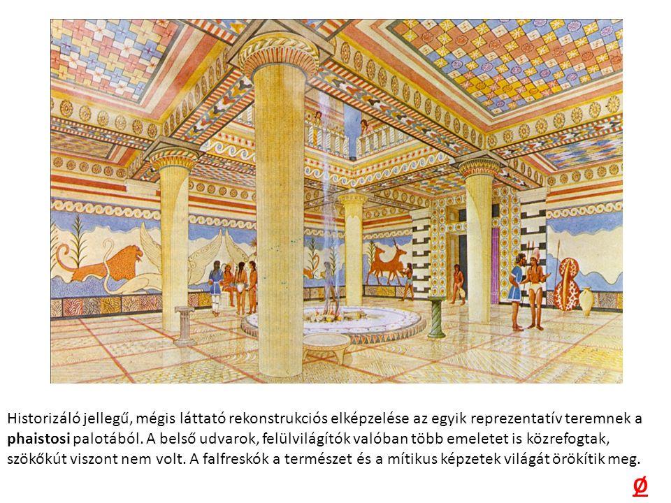 Historizáló jellegű, mégis láttató rekonstrukciós elképzelése az egyik reprezentatív teremnek a phaistosi palotából.