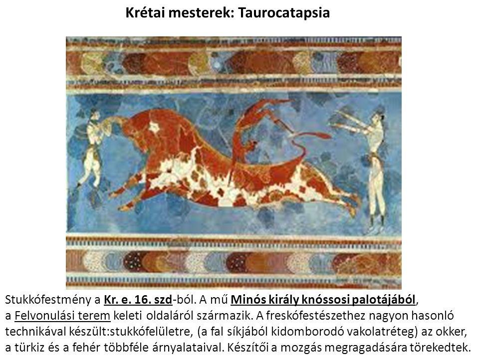 Az égei művészet a pompás díszletek közepette már a kezdetektől fogva a mitológiai képzeteken (v.ö.: >>müthosz<<, annyit jelent, mint az elképzelés kedvéért a szemünket ráhunyni valamire) alapuló gondolatokat fejez ki, ezek pedig a görög civilizációnak abban a sötét korszakában fognak beérni, amely az akhájok világából a dórokéba vezet, és tovább érlelődik még azután is.
