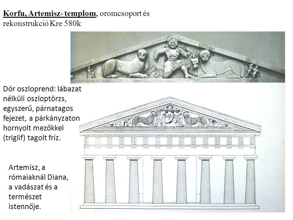Korfu, Artemisz- templom, oromcsoport és rekonstrukció Kre 580k Artemisz, a rómaiaknál Diana, a vadászat és a természet istennője.