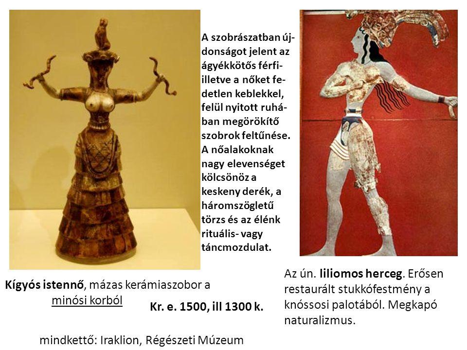 Kígyós istennő, mázas kerámiaszobor a minósi korból Az ún.