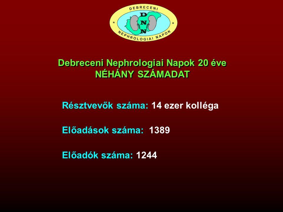 Résztvevők száma: 14 ezer kolléga Előadások száma: 1389 Előadók száma: 1244 Debreceni Nephrologiai Napok 20 éve NÉHÁNY SZÁMADAT Debreceni Nephrologiai
