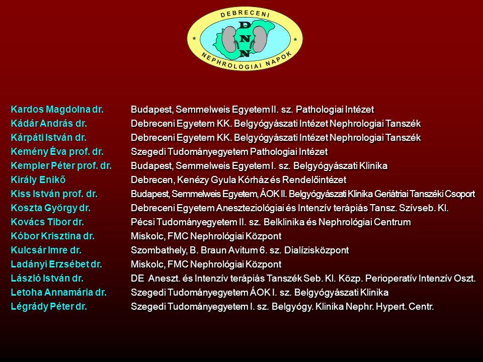 Kardos Magdolna dr. Kádár András dr. Kárpáti István dr. Kemény Éva prof. dr. Kempler Péter prof. dr. Király Enikő Kiss István prof. dr. Koszta György