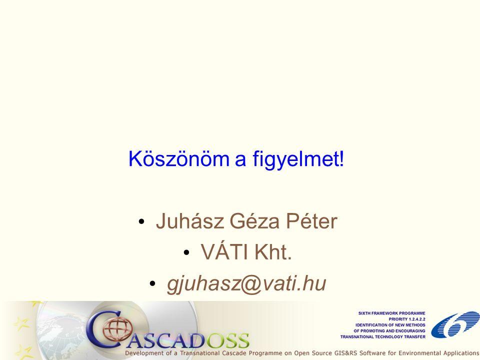 Köszönöm a figyelmet! Juhász Géza Péter VÁTI Kht. gjuhasz@vati.hu