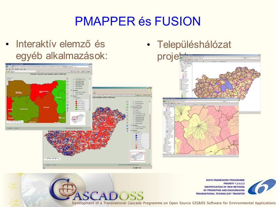PMAPPER és FUSION Településhálózat projekt: Interaktív elemző és egyéb alkalmazások: