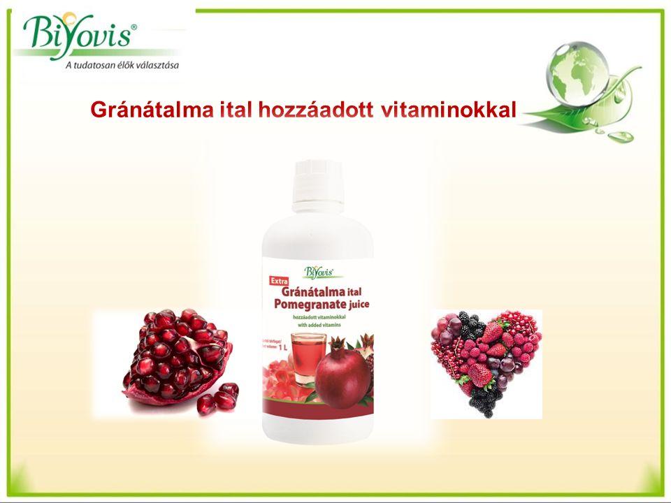 Gránátalma ital hozzáadott vitaminokkal