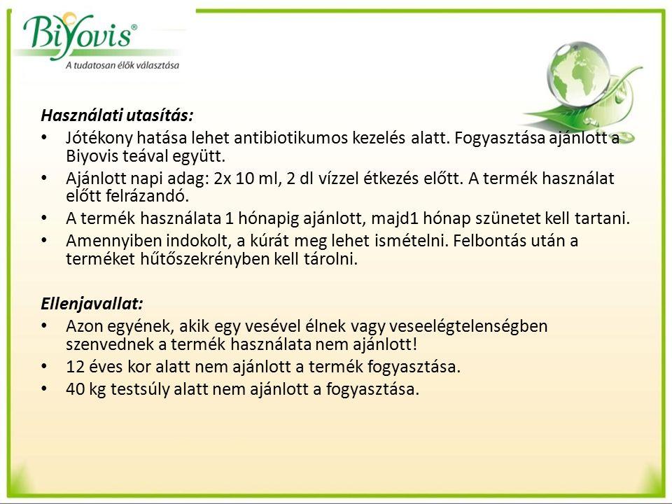 Használati utasítás: Jótékony hatása lehet antibiotikumos kezelés alatt.