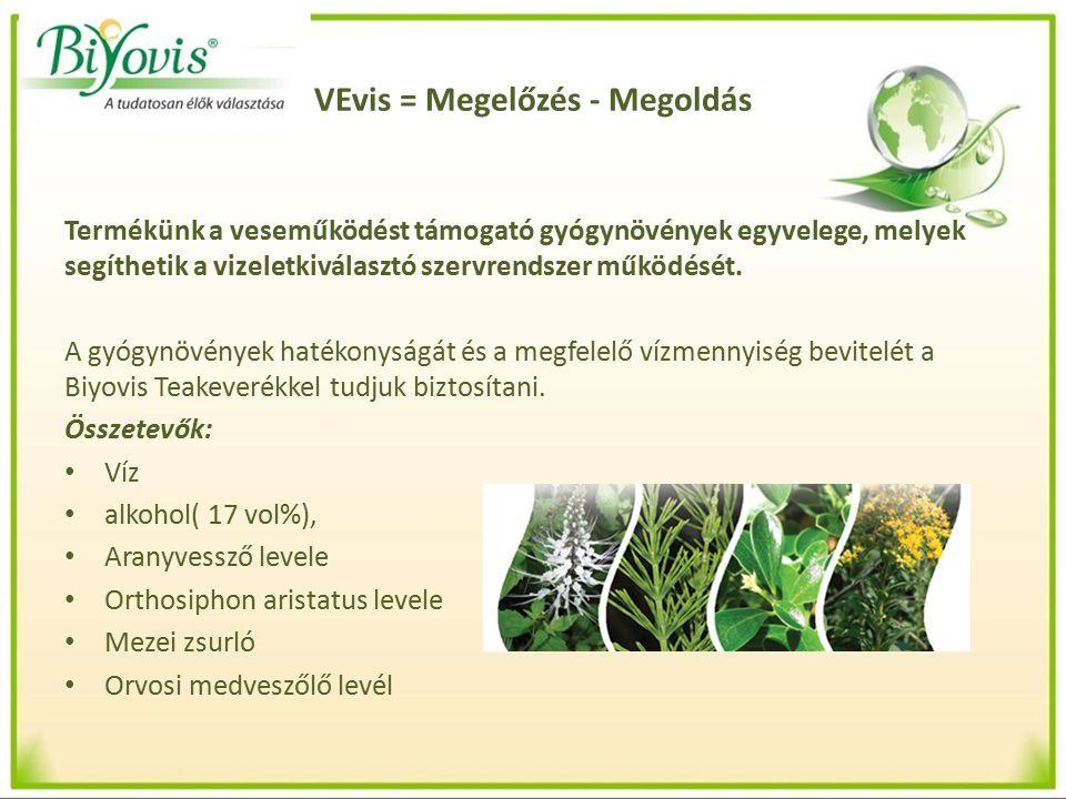 VEvis = Megelőzés - Megoldás Termékünk a veseműködést támogató gyógynövények egyvelege, melyek segíthetik a vizeletkiválasztó szervrendszer működését.