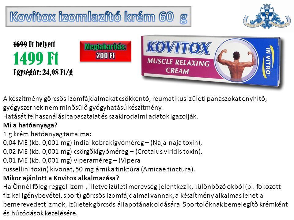 A készítmény görcsös izomfájdalmakat csökkentõ, reumatikus izületi panaszokat enyhítõ, gyógyszernek nem minõsülõ gyógyhatású készítmény.
