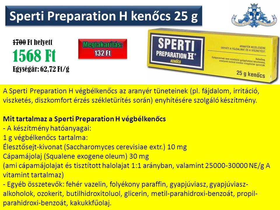 Sperti Preparation H kenőcs 25 g 1700 Ft helyett 1568 Ft Egységár: 62,72 Ft/g A Sperti Preparation H végbélkenőcs az aranyér tüneteinek (pl.
