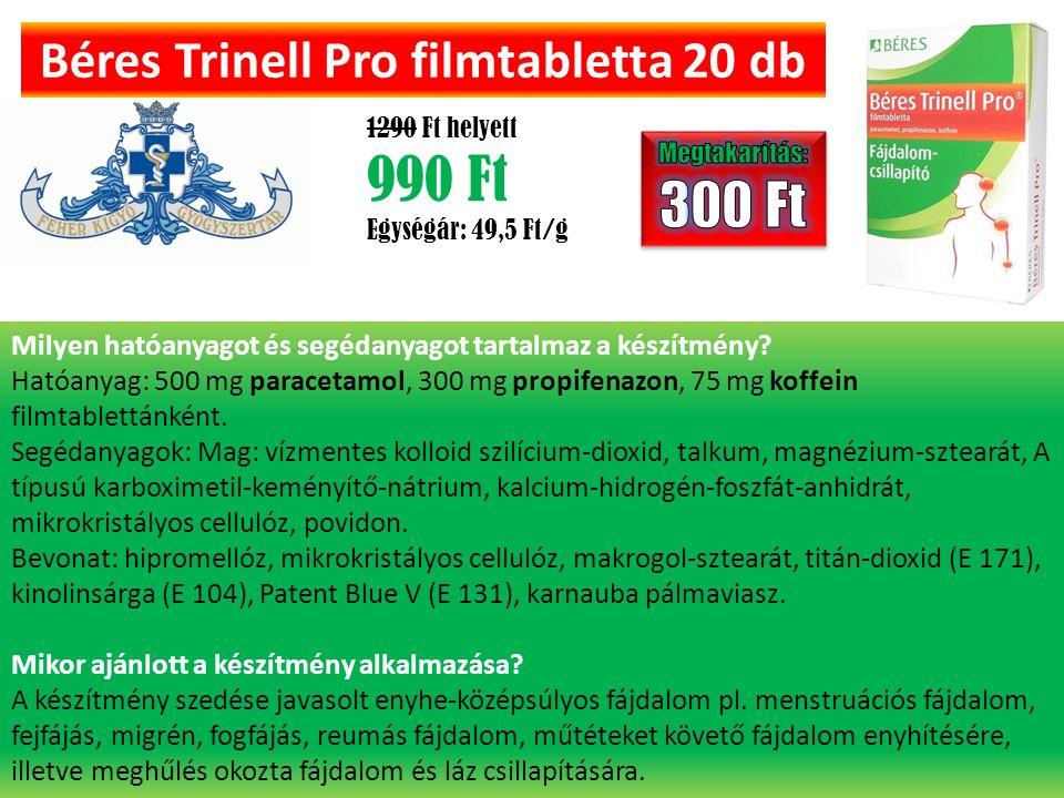 Béres Trinell Pro filmtabletta 20 db 1290 Ft helyett 990 Ft Egységár: 49,5 Ft/g Milyen hatóanyagot és segédanyagot tartalmaz a készítmény.