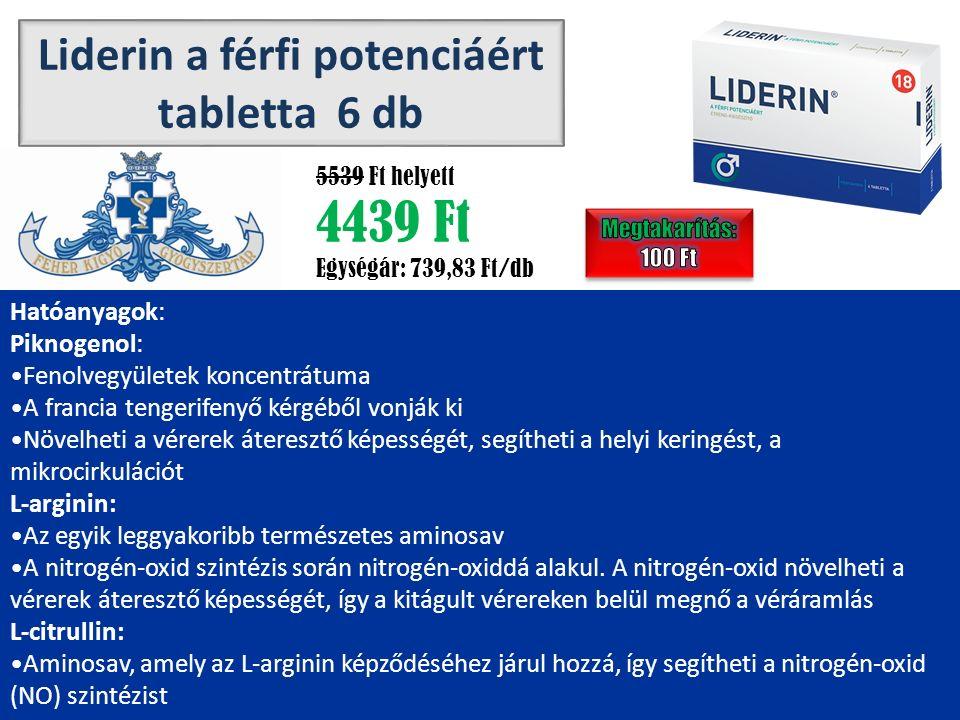 Liderin a férfi potenciáért tabletta 6 db 5539 Ft helyett 4439 Ft Egységár: 739,83 Ft/db Hatóanyagok: Piknogenol: Fenolvegyületek koncentrátuma A francia tengerifenyő kérgéből vonják ki Növelheti a vérerek áteresztő képességét, segítheti a helyi keringést, a mikrocirkulációt L-arginin: Az egyik leggyakoribb természetes aminosav A nitrogén-oxid szintézis során nitrogén-oxiddá alakul.