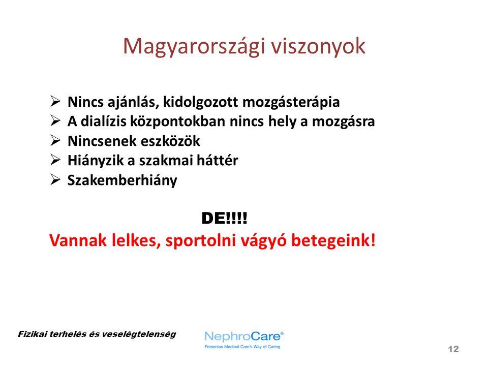 Magyarországi viszonyok 12 Fizikai terhelés és veselégtelenség  Nincs ajánlás, kidolgozott mozgásterápia  A dialízis központokban nincs hely a mozgá