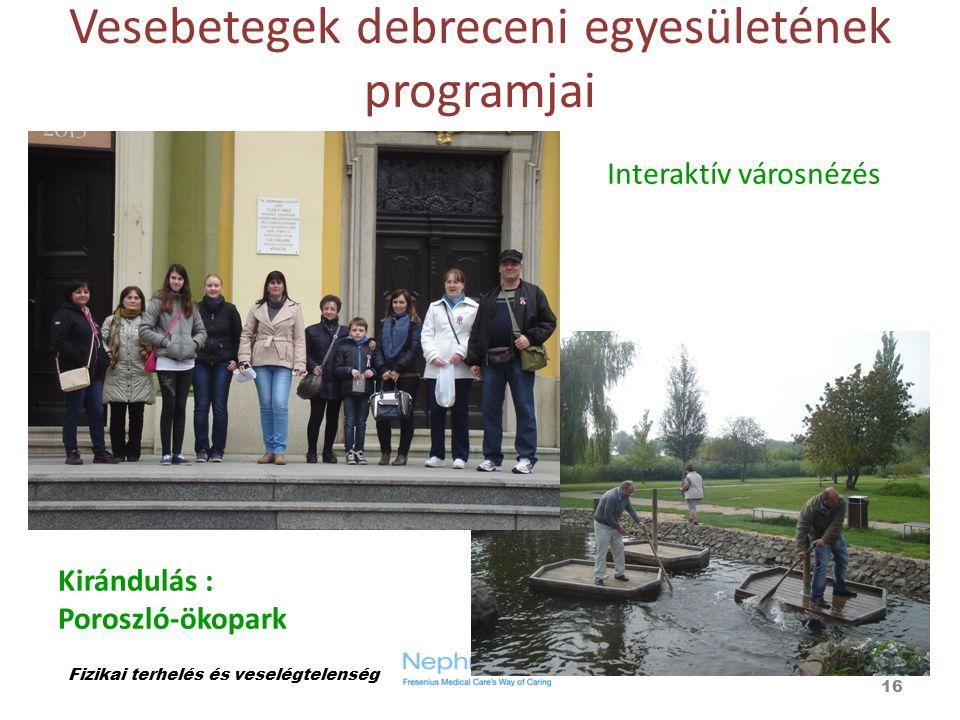 Vesebetegek debreceni egyesületének programjai Fizikai terhelés és veselégtelenség 16 Interaktív városnézés Kirándulás : Poroszló-ökopark