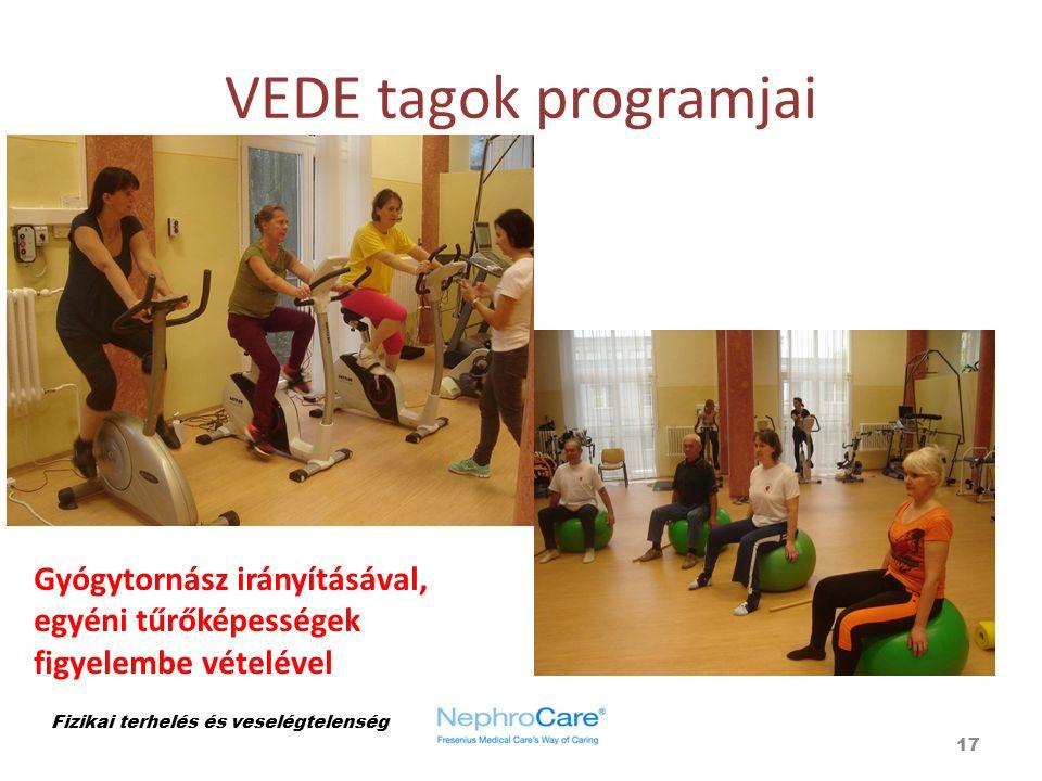 VEDE tagok programjai 17 Fizikai terhelés és veselégtelenség Gyógytornász irányításával, egyéni tűrőképességek figyelembe vételével