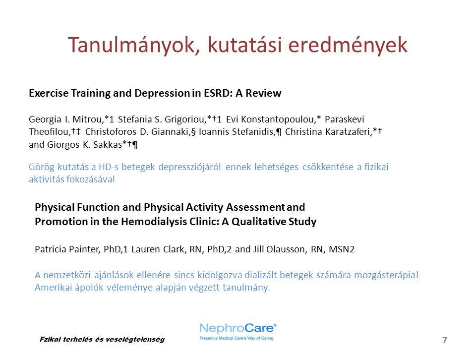 Tanulmányok, kutatási eredmények Fzikai terhelés és veselégtelenség 7 Physical Function and Physical Activity Assessment and Promotion in the Hemodial