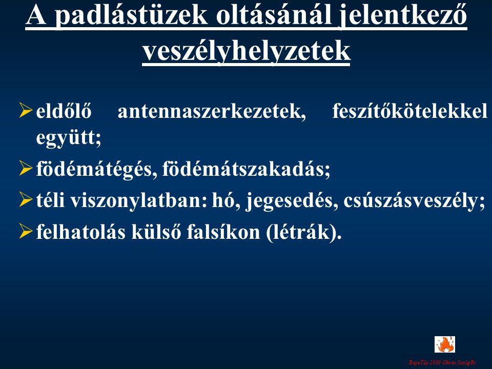 BajaTűz 2003 Okt és Szolg Bt. A padlástüzek oltásánál jelentkező veszélyhelyzetek  eldőlő antennaszerkezetek, feszítőkötelekkel együtt;  födémátégés