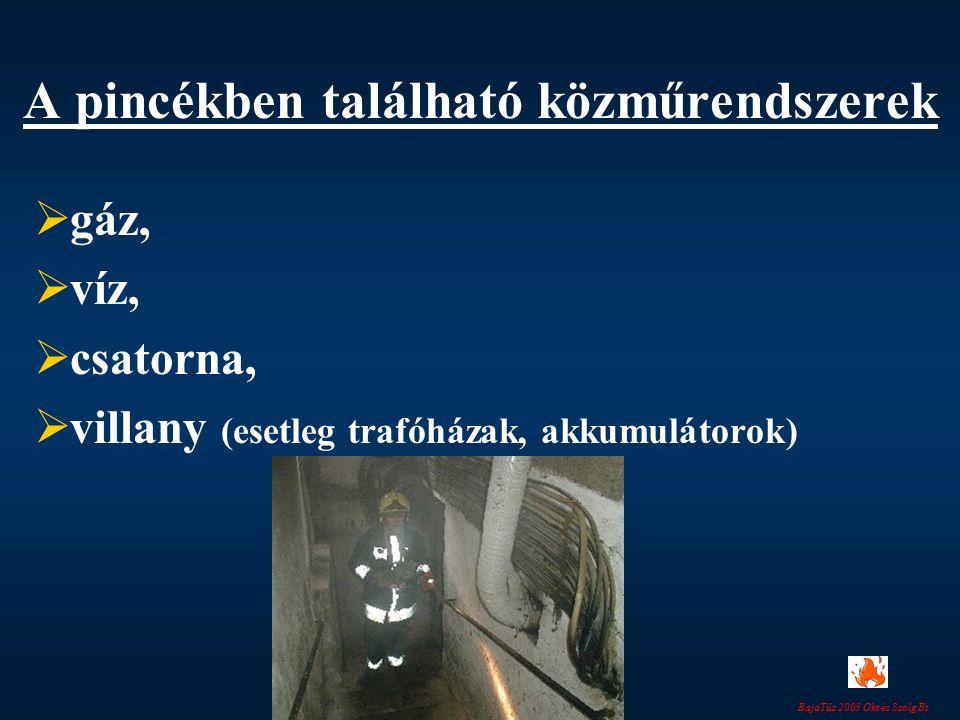 A pincékben található közműrendszerek  gáz,  víz,  csatorna,  villany (esetleg trafóházak, akkumulátorok)